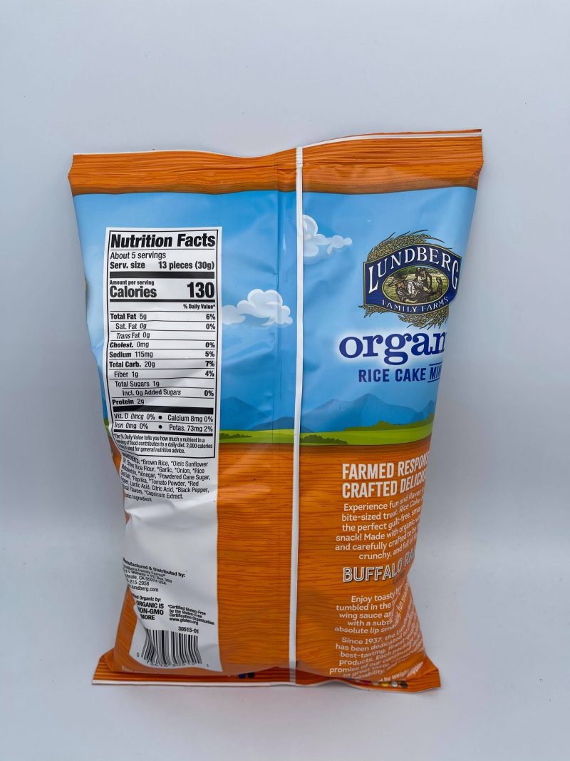 Enjoy toasty brown rice tumbled in the tangy spice of buffalo wing sauce and perfectly balanced with a subtle ranch flavor. You can snack without a second thought knowing these Lundberg Rice Cake Minis are: USDA Organic Certified Organic by CCOF Non-GMO Project Verified Certified Gluten-Free Vegan 100% Whole Grain